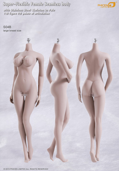 [PL-LB2015S04B] Phicen Limited Super-Flexible Female Seamless Large Breast Body with Stainless Steel Skeleton in Pale