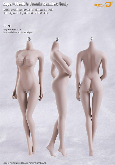 [PL-LB2015S07C] Phicen Limited Super-Flexible Female Seamless Large Breast Body with Stainless Steel Skeleton in Pale
