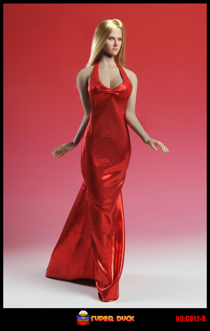 [SUD-C012B] Super Duck Sex Mermaid Gown in Red Girl Figure Clothing