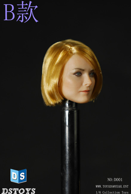 [DS-D001B] DS Toys Female Action Figure Head with Short Straight Copper Blonde Hair