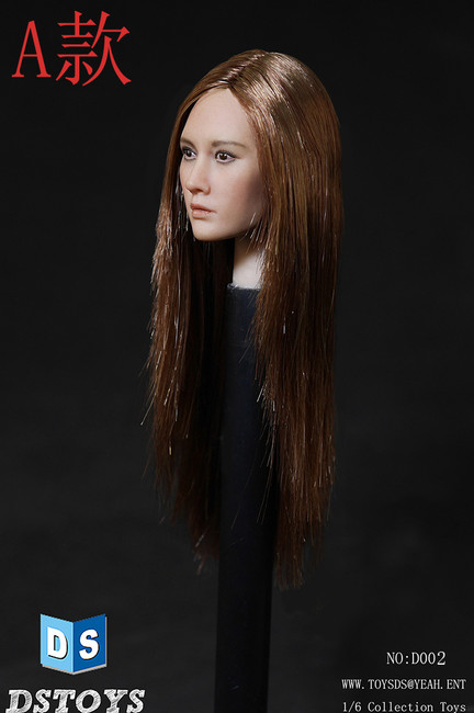 [DS-D002A] DS Toys Female Action Figure Head with Long Straight Aubum Brown Hair