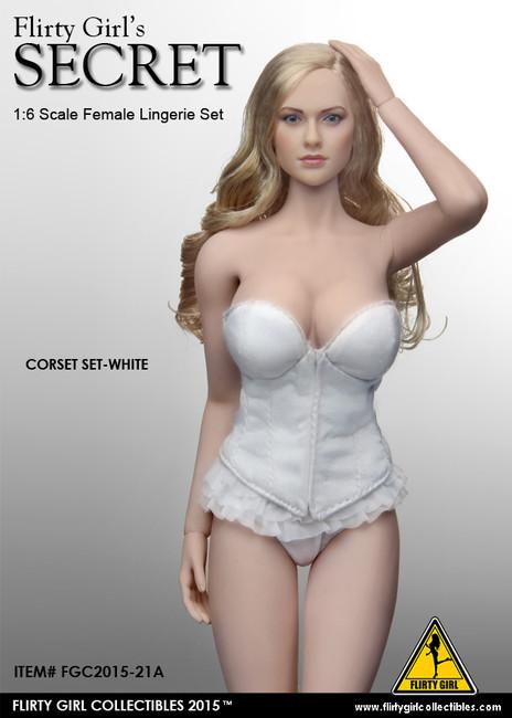 [FGC-2015-21A] 1:6 Flirty Girl Female Figures Corset Lingerie Set in White