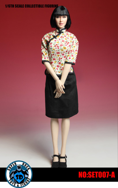 [SUD-SET007A] Super Duck 1:6 Chinese Student Uniform with Head with Flower Pattern