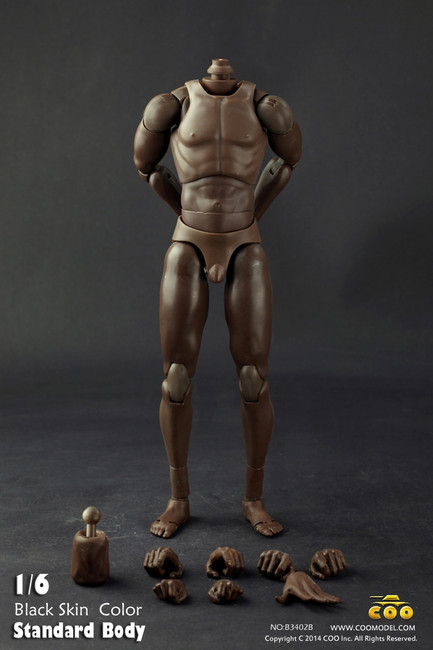 """[CM-B34002B] Afican American Standard Male Body with Narrow Shoulders in 10.6"""" Tall"""