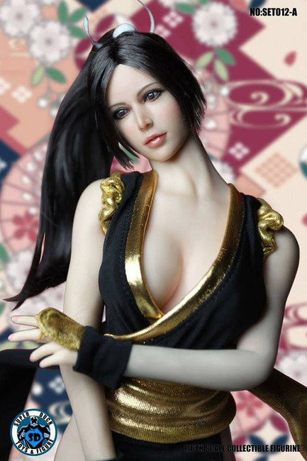 [SUD-SET012A] Super Duck Fighting Girl Black Clothing & Head 1:6 Accessory