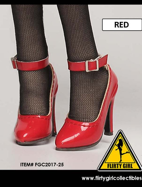 [FGC2017-25] 1:6 Flirty Girl's Hollow Red High Heel Shoes (Anna) for Female Figures