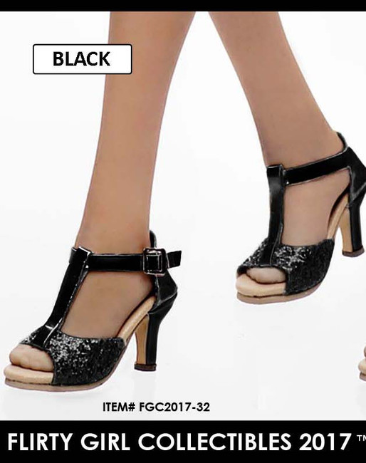 [FGC2017-32] 1:6 Flirty Girl's Hollow Black High Heel Shoes (USO) for Female Figures