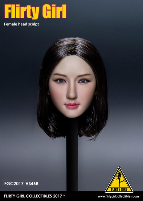 [FGC-HS46B] Flirty Girl's Female 1/6 Head Sculpt with Black Short Hair