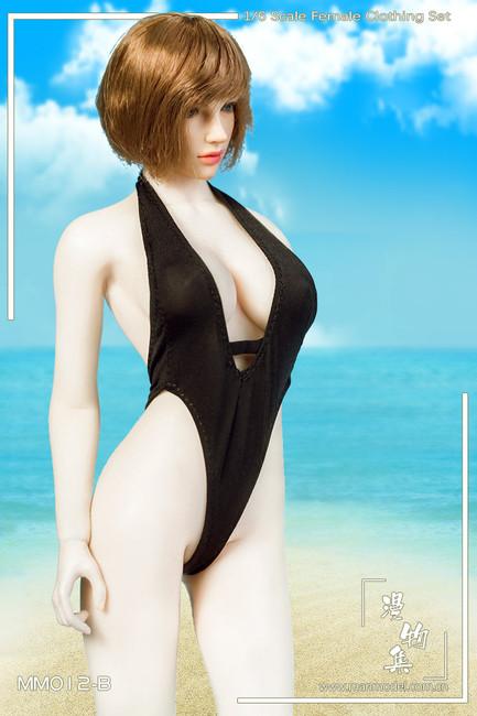 [MM-012B] Manmodel 1/6 Black One-piece Low-cut Swimwear