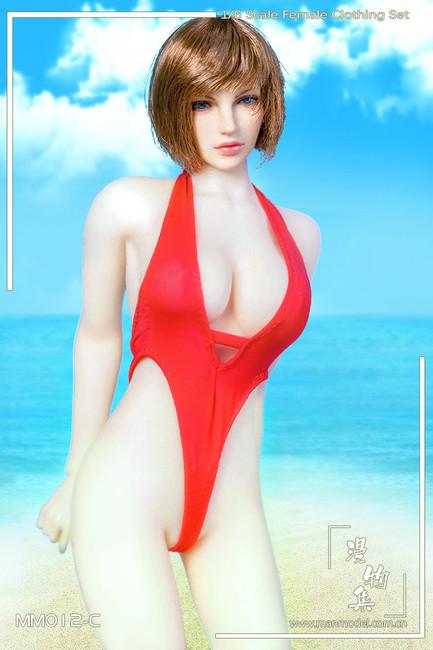 [MM-012C] Manmodel 1/6 Red One-piece Low-cut Swimwear