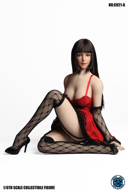 [SUD-C021A] Super Duck 1/6 Red Fit & Flare Women Dress
