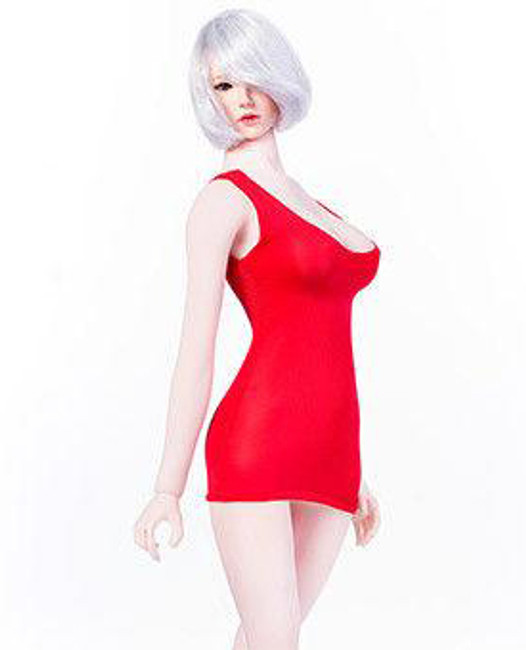 [MM-09C] Manmodel 1/6 Red U Collar Mini Dress