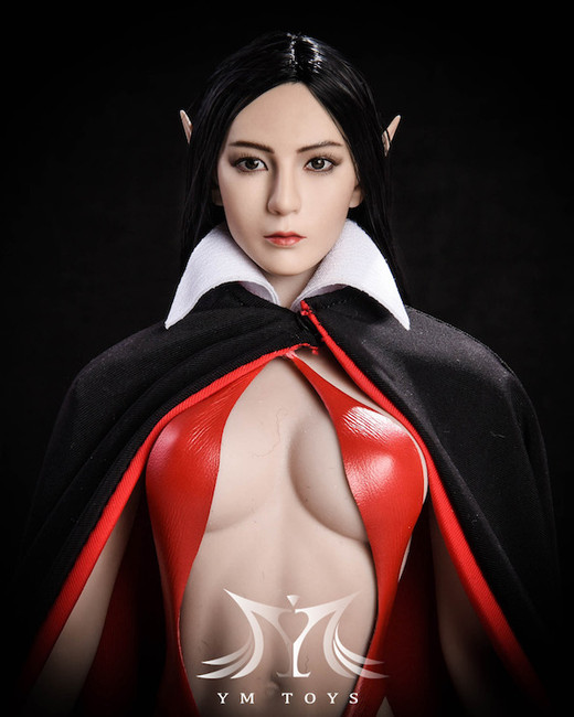 [YMT-09B] YM Toys Female Head with Interchangeable Ears with Black Hair