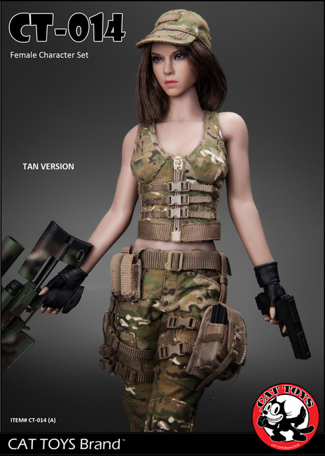 [CAT-014A] Cat Toys 1/6 Military Female Character Set in Tan