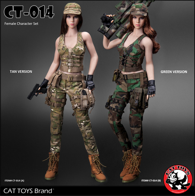[CAT-014B] Cat Toys 1/6 Military Female Character Set in Green