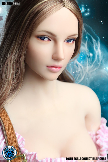 [SUD-DX01A] 1/6 Medium Light Brown Hair Headsculpt with Movable Eye Ball by Super Duck
