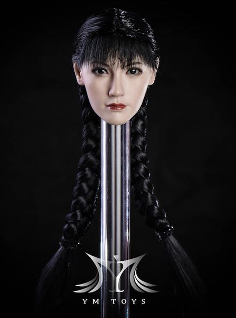 [MIS-H047C] Custom 1:6 Tan Fang Hu Headsculpt with Ponytail