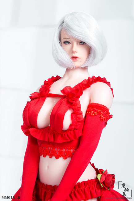 [MM-018B] 1/6 Scale Red Two-dimensional Sexy Flower Wedding Dress by Manmodel