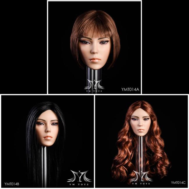 [YMT-14B] 1/6 Female Head with Black Hair by YM Toys