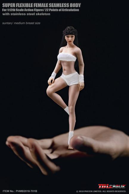 [PL-MB2018-T01B] 1:12 Super-Flexible Female Seamless Medium Bust Suntan Body by TBLeague Phicen