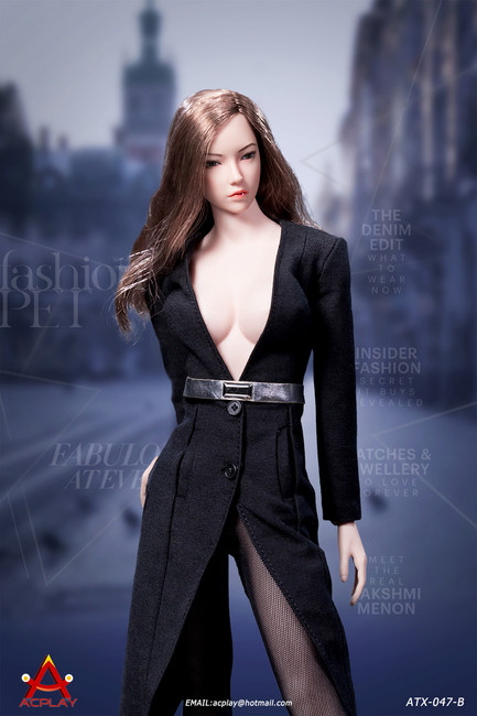 [AP-ATX047B] 1/6 Fashionable Black Deep V-Necktrench Coat by ACPLAY