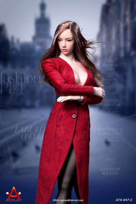 [AP-ATX047C] 1/6 Fashionable Red Deep V-Necktrench Coat by ACPLAY