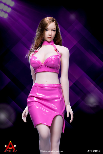 [AP-ATX048D] 1/6 Sexy Lady Pink Leather Skirt by ACPLAY