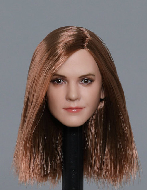 [GAC-1820C] 1:6 Caucasian Women's Head Sculpt with Brown Hair by GACTOYS