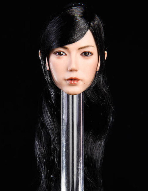 [YMT-019C] 1/6 Asian Female Head with Black Curly Hair by YM Toys