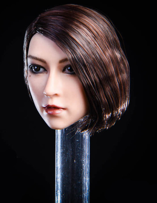 [YMT-020A] 1/6 Asian Female Head with Dark Brown Hair by YM Toys