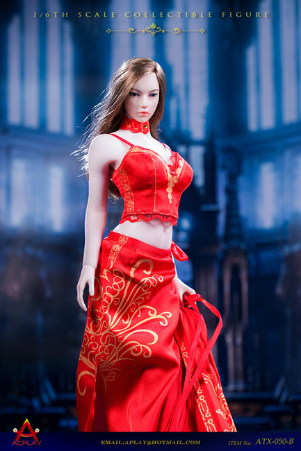 [AP-ATX050B] 1/6 Queen Style Long Retro Skirt in Red by ACPLAY