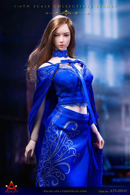 [AP-ATX050D] 1/6 Queen Style Long Retro Skirt in Blue by ACPLAY