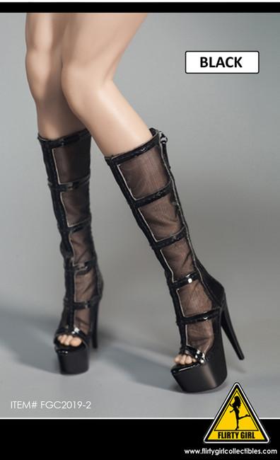 [FGC-2019-2] 1/6 Black Mesh Female Fashion Boots by Flirty Girl's