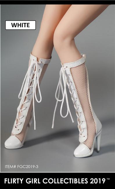 [FGC-2019-3] 1/6 White Fishnet Female Fashion Boots by Flirty Girl's