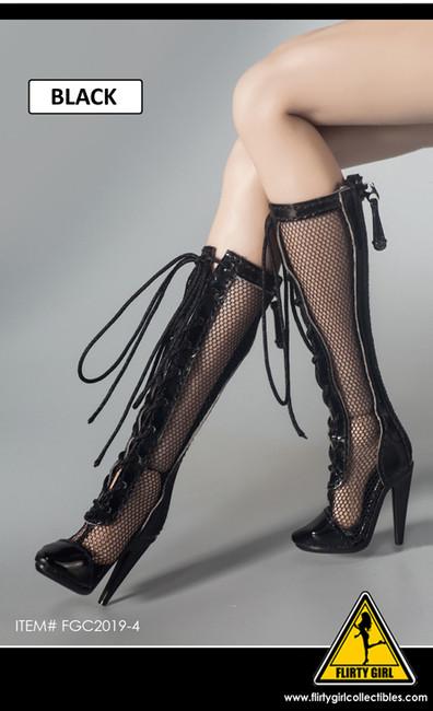 [FGC-2019-4] 1/6 Black Fishnet Female Fashion Boots by Flirty Girl's