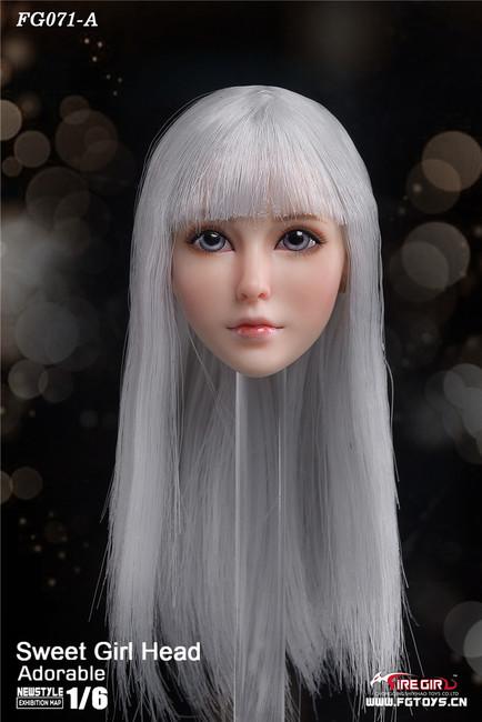 [FG-071A] 1/6 Otaku Sweet Girl Head Sculpture with White Hair by Fire Girl Toys