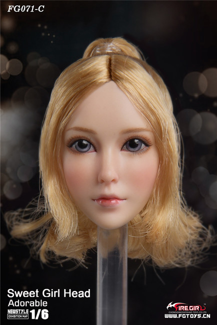 [FG-071C] 1/6 Otaku Sweet Girl Head Sculpture with Blonde Hair by Fire Girl Toys