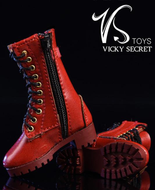 [VST-18XG43B] 1/6 Figure Zipper Boots in Red by VS Toys