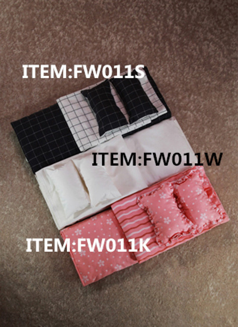 [FW-011W] 1/6 White pillow+quilt+sheets by FEELWOTOYS