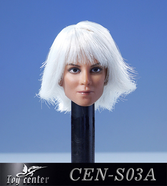 [CEN-S03A] 1/6 Normal Eyes Female Head with Hair by Toy Center