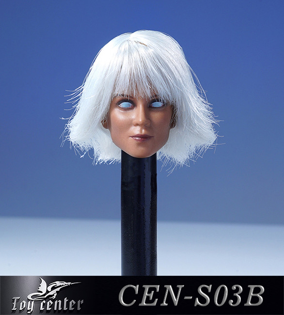 [CEN-S03B] 1/6 White Eyes Female Head with Hair by Toy Center