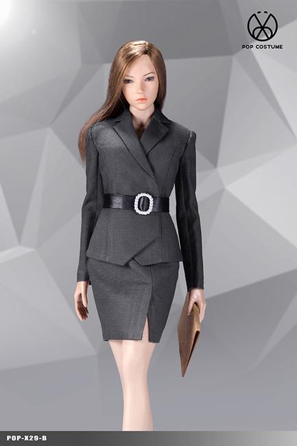 [POP-X29B] 1:6 Grey Office Lady Suit Skirt Version by POP Toys
