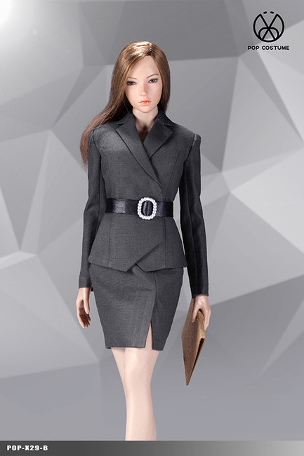 [POP-X29B] 1:6 Grey Office Lady Suit Skirt Version by POP Toys