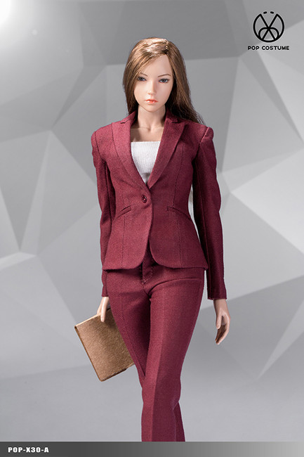 [POP-X30A] 1:6 Red Office Lady Suit Pants Version by POP Toys