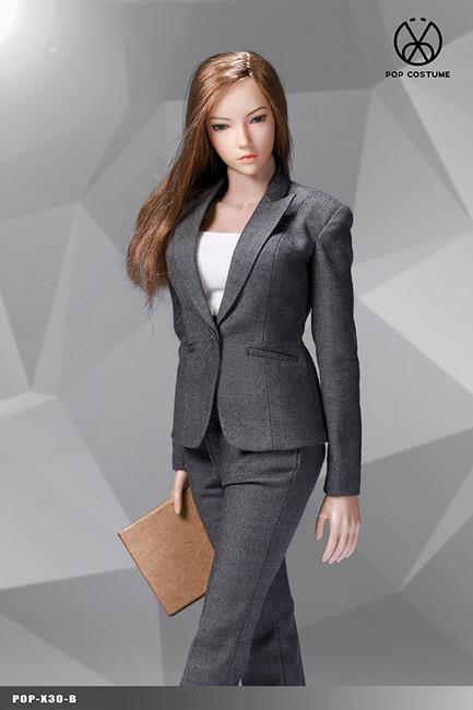 [POP-X30B] 1:6 Grey Office Lady Suit Pants Version by POP Toys