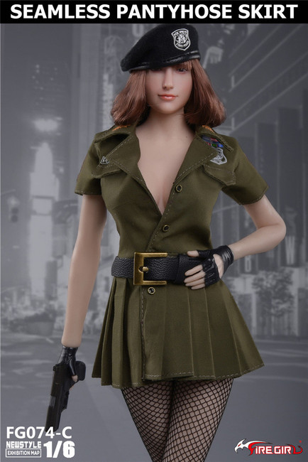 [FG-074C] 1/6 Army Green Seamless Pantyhose Skirt by Fire Girl Toys