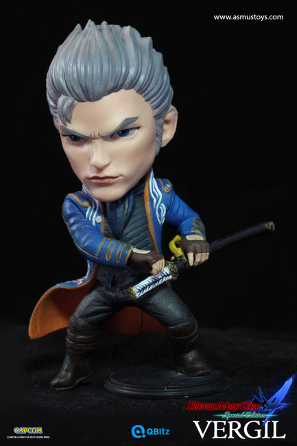 """[ASM-QB004] Vergil 4"""" Tall Limited Articulation Figure in Devil May Cry by Asmus Toys"""