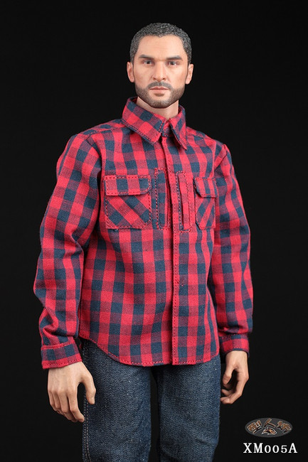 [XM-005A] 1/6 Red Plaid Shirt & Jeans Set by XRF