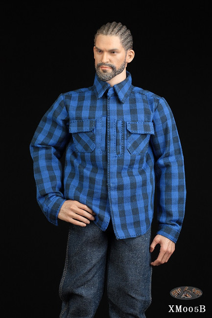[XM-005B] 1/6 Blue Plaid Shirt & Jeans Set by XRF