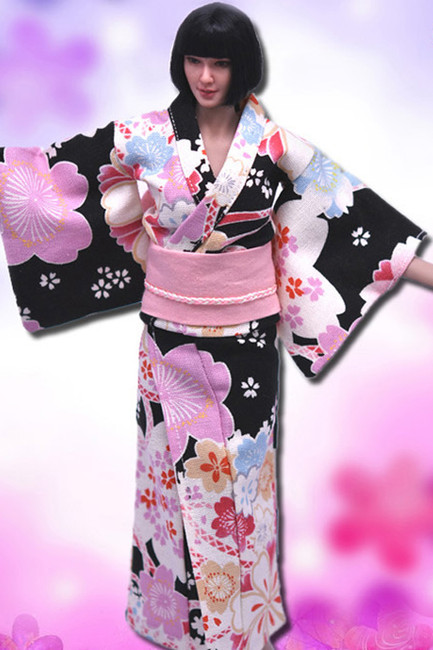 [VST-HF003] 1/6 Black Japanese Kimono Clothing by VS Toys